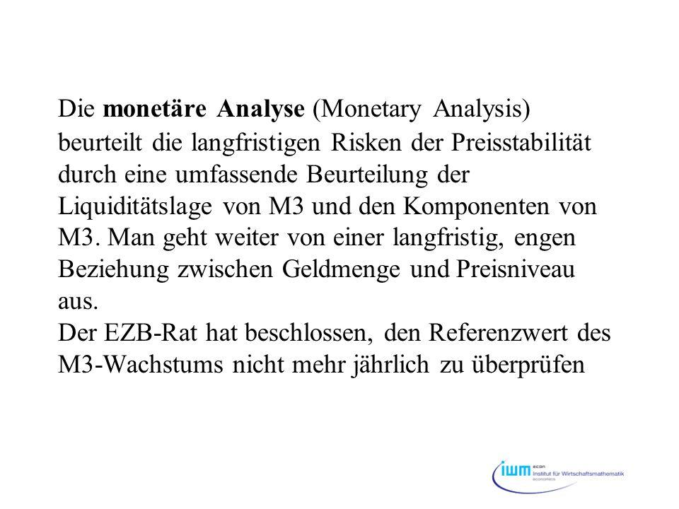 Die monetäre Analyse (Monetary Analysis) beurteilt die langfristigen Risken der Preisstabilität durch eine umfassende Beurteilung der Liquiditätslage von M3 und den Komponenten von M3.