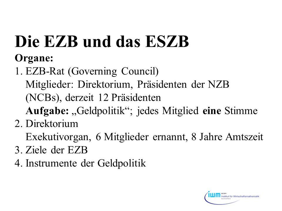 Die EZB und das ESZB Organe: 1