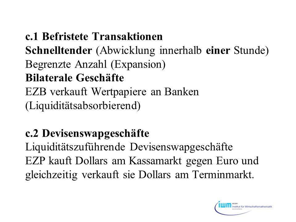c.1 Befristete Transaktionen Schnelltender (Abwicklung innerhalb einer Stunde) Begrenzte Anzahl (Expansion) Bilaterale Geschäfte EZB verkauft Wertpapiere an Banken (Liquiditätsabsorbierend) c.2 Devisenswapgeschäfte Liquiditätszuführende Devisenswapgeschäfte EZP kauft Dollars am Kassamarkt gegen Euro und gleichzeitig verkauft sie Dollars am Terminmarkt.