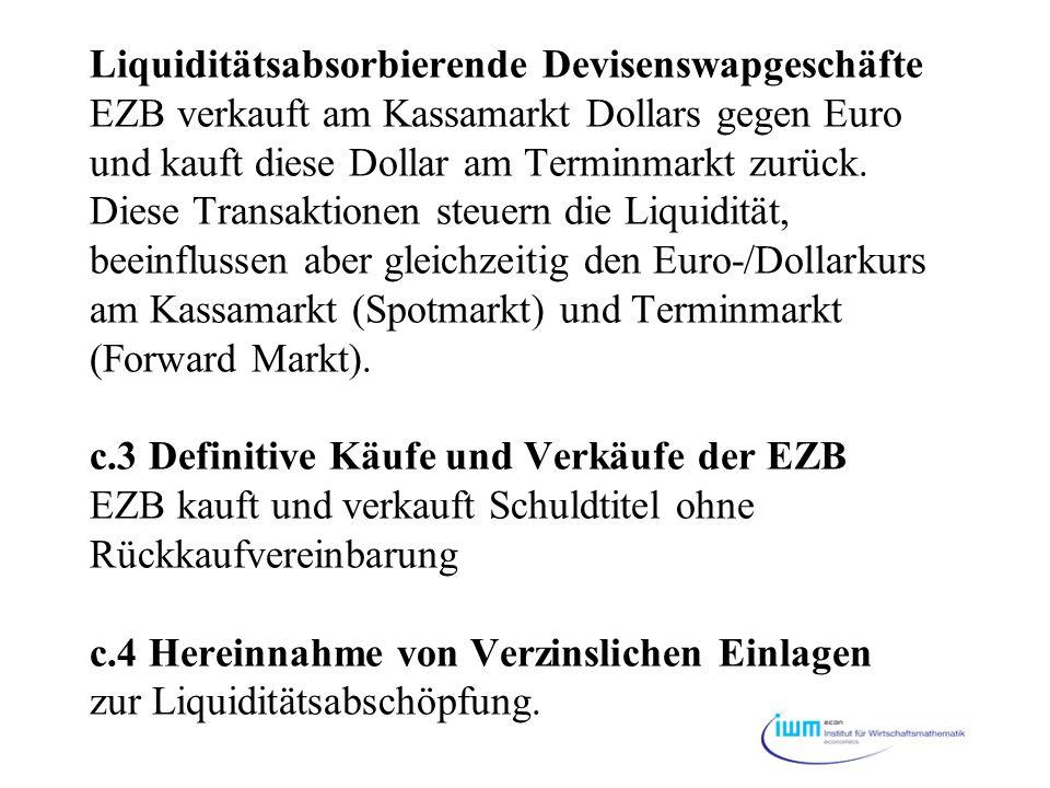 Liquiditätsabsorbierende Devisenswapgeschäfte EZB verkauft am Kassamarkt Dollars gegen Euro und kauft diese Dollar am Terminmarkt zurück.