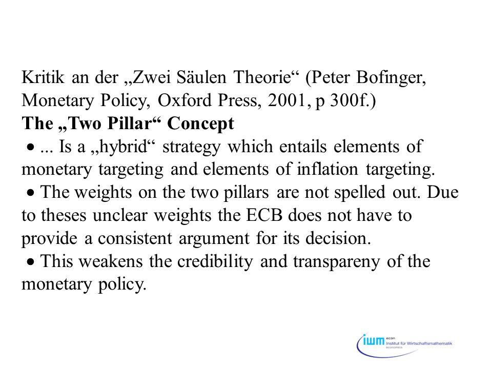 """Kritik an der """"Zwei Säulen Theorie (Peter Bofinger, Monetary Policy, Oxford Press, 2001, p 300f.) The """"Two Pillar Concept  ..."""