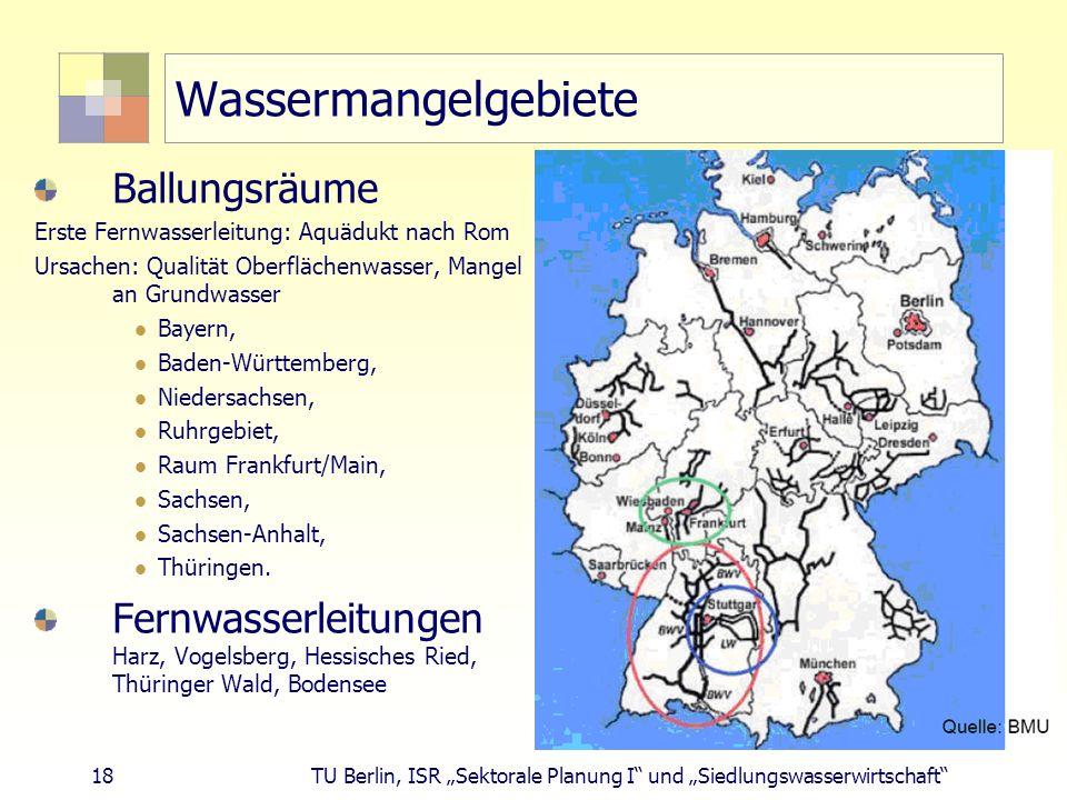 Wassermangelgebiete Ballungsräume