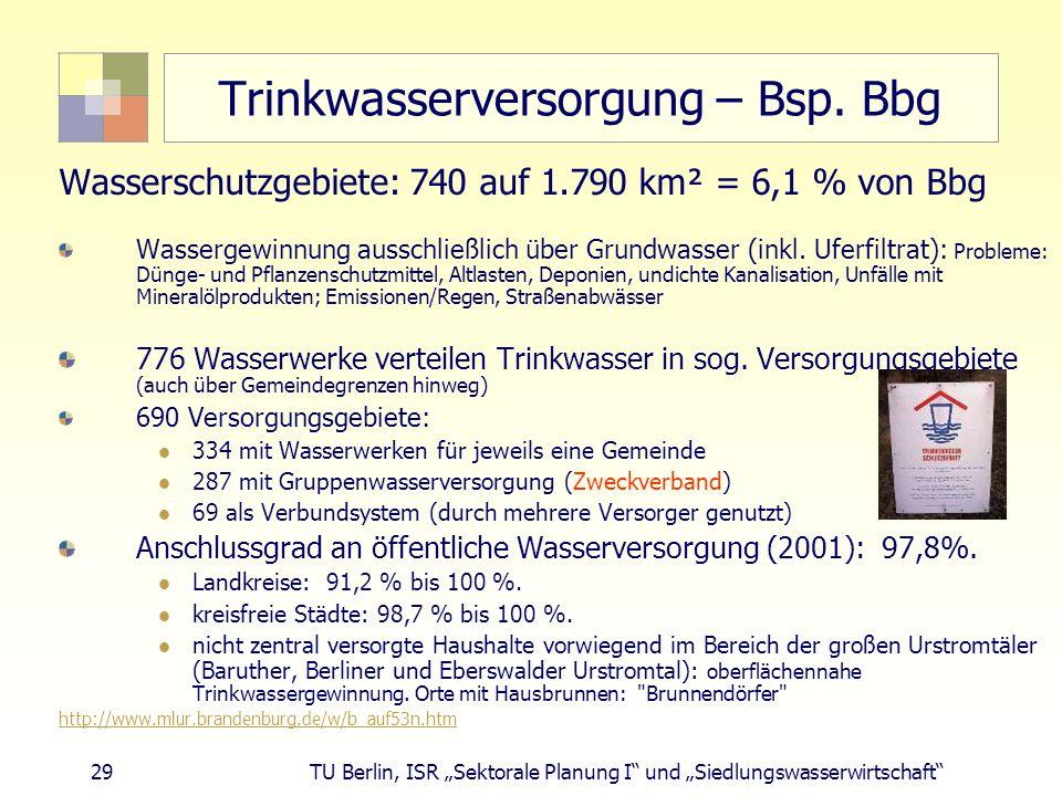 Trinkwasserversorgung – Bsp. Bbg