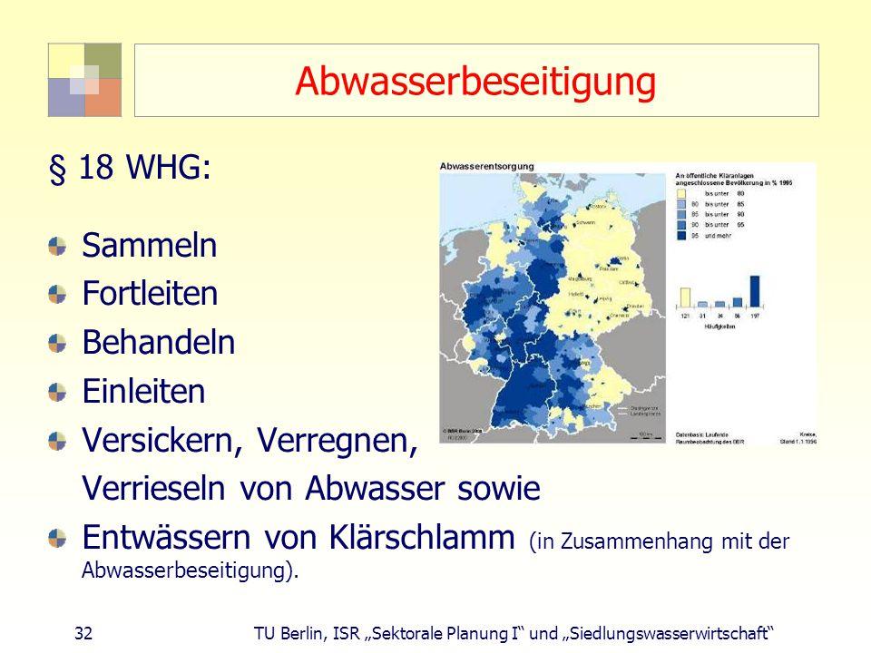 Abwasserbeseitigung § 18 WHG: Sammeln Fortleiten Behandeln Einleiten
