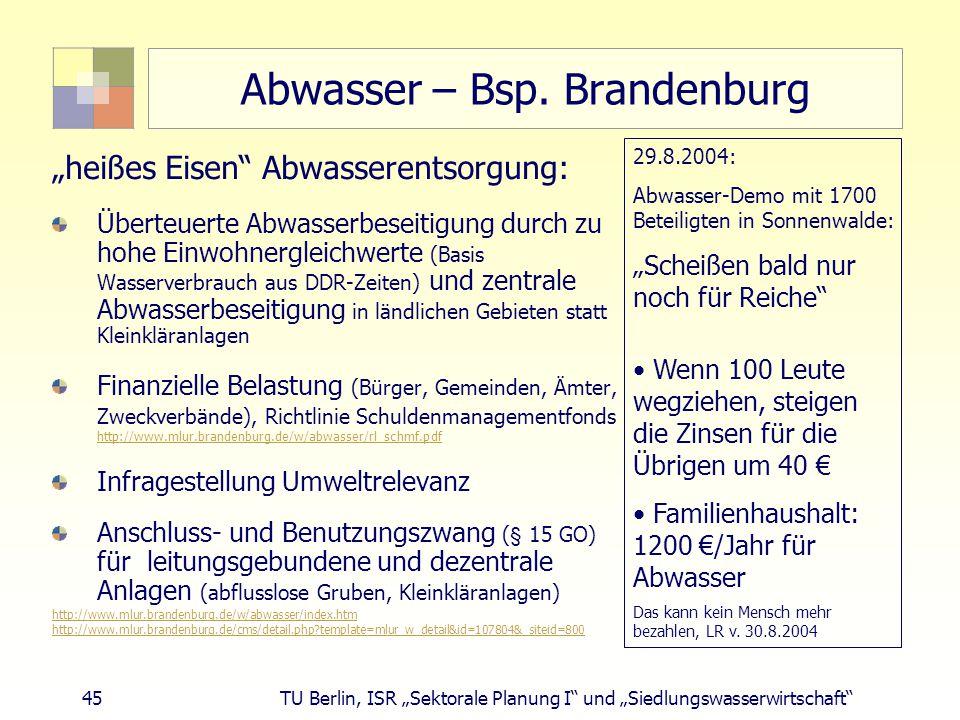 Abwasser – Bsp. Brandenburg