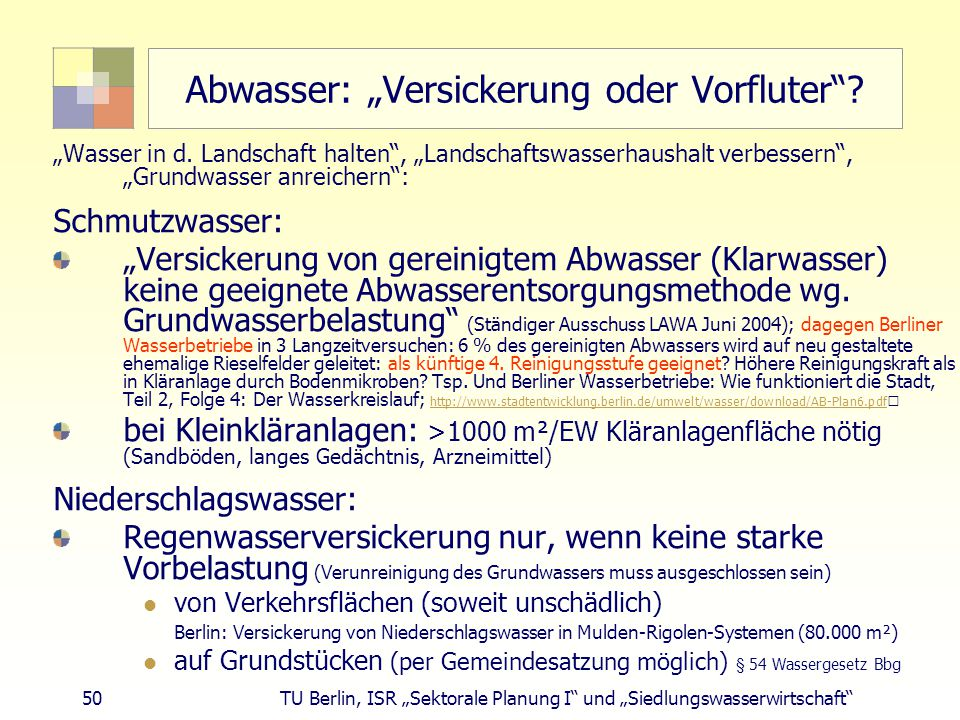 """Abwasser: """"Versickerung oder Vorfluter"""