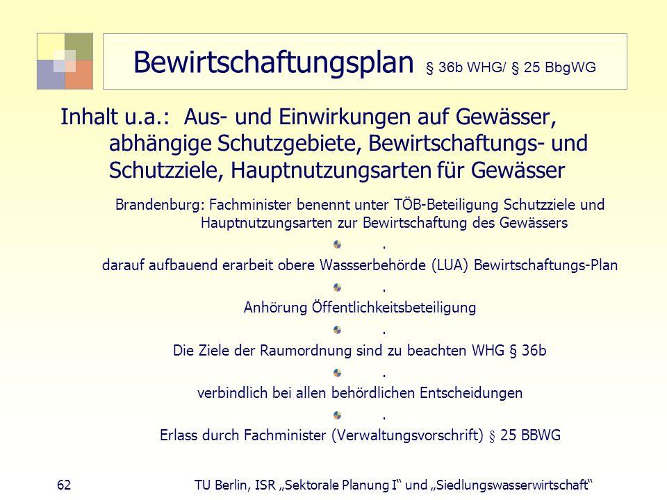 Bewirtschaftungsplan § 36b WHG/ § 25 BbgWG