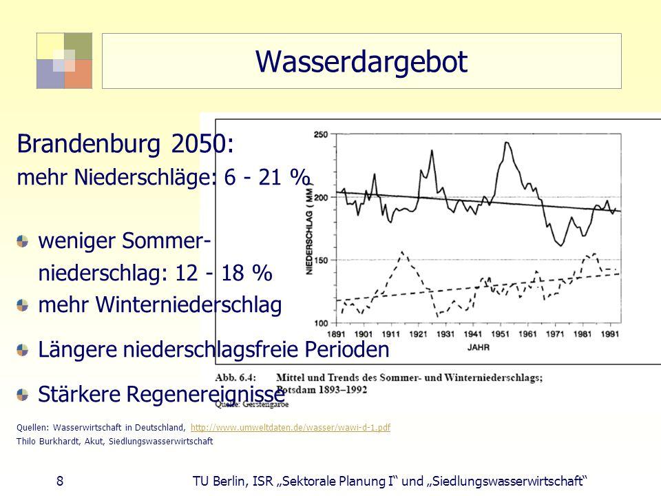 Wasserdargebot Brandenburg 2050: mehr Niederschläge: 6 - 21 %
