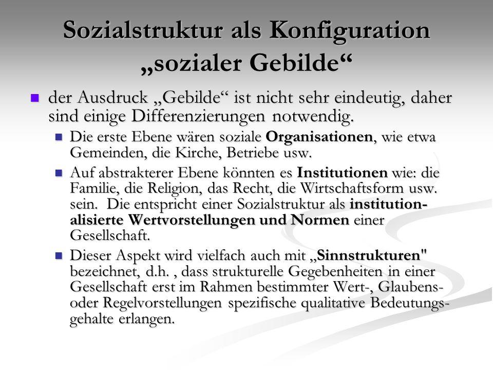 """Sozialstruktur als Konfiguration """"sozialer Gebilde"""