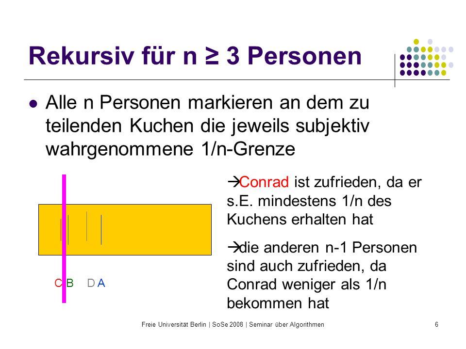 Rekursiv für n ≥ 3 Personen