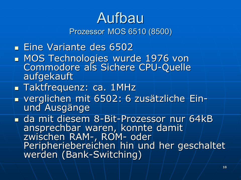 Aufbau Prozessor MOS 6510 (8500)