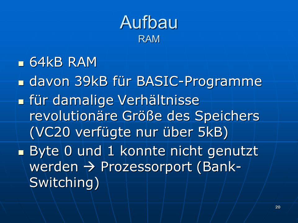 Aufbau RAM 64kB RAM davon 39kB für BASIC-Programme