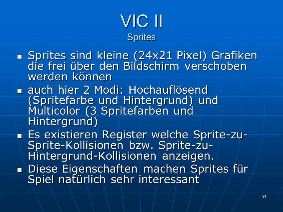 VIC II Sprites Sprites sind kleine (24x21 Pixel) Grafiken die frei über den Bildschirm verschoben werden können.