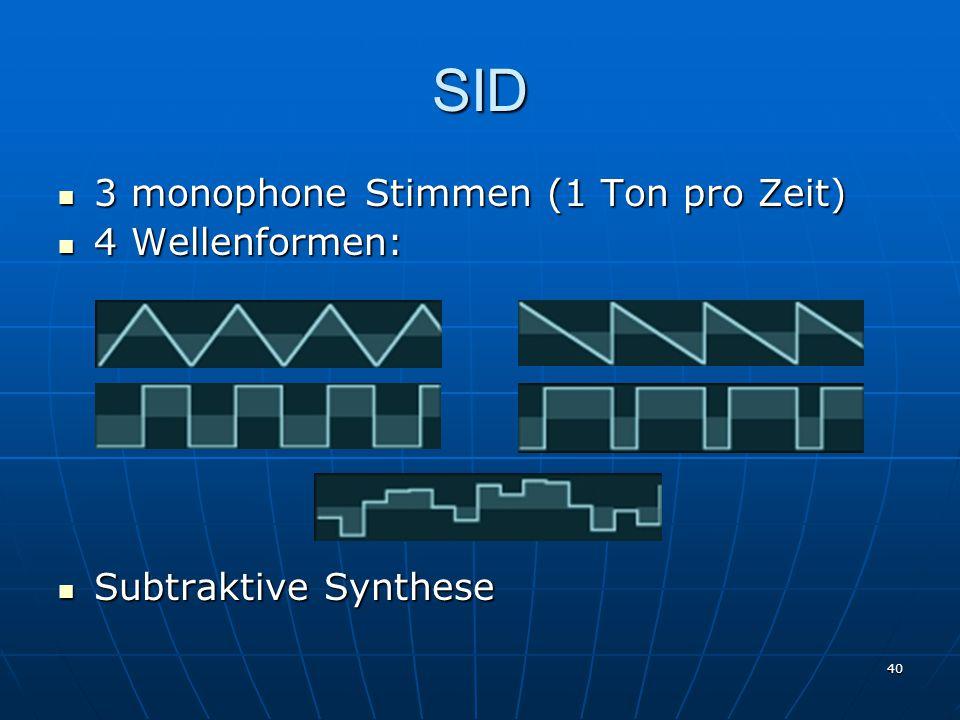 SID 3 monophone Stimmen (1 Ton pro Zeit) 4 Wellenformen: