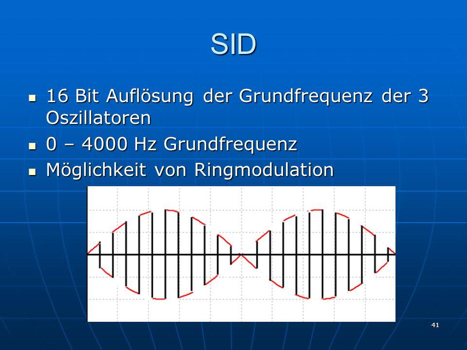 SID 16 Bit Auflösung der Grundfrequenz der 3 Oszillatoren