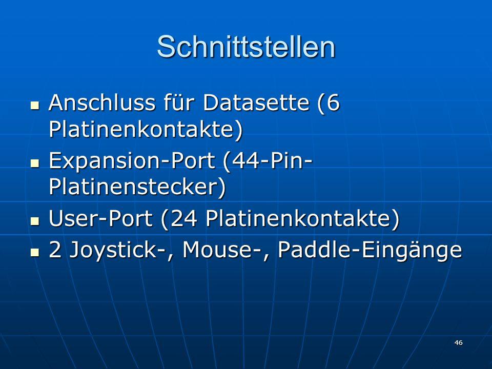 Schnittstellen Anschluss für Datasette (6 Platinenkontakte)