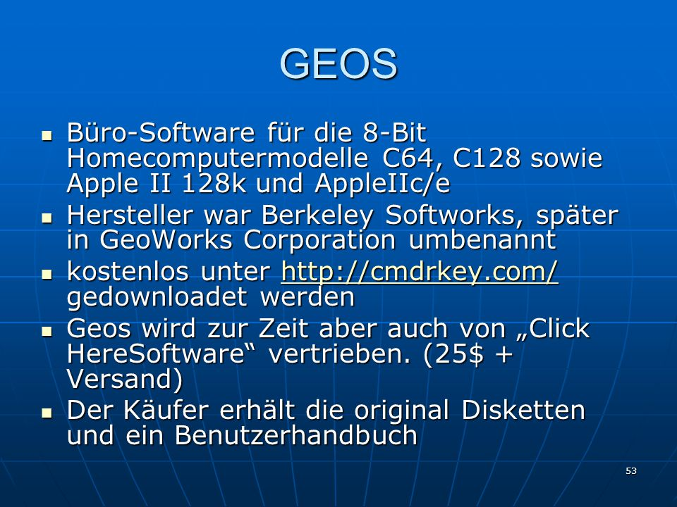 GEOS Büro-Software für die 8-Bit Homecomputermodelle C64, C128 sowie Apple II 128k und AppleIIc/e.
