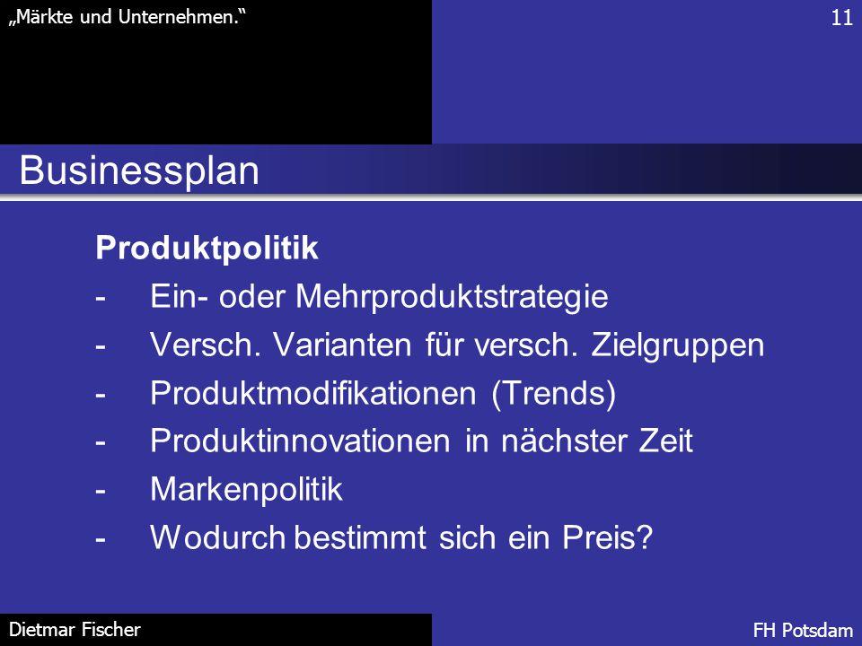 Businessplan Produktpolitik Ein- oder Mehrproduktstrategie