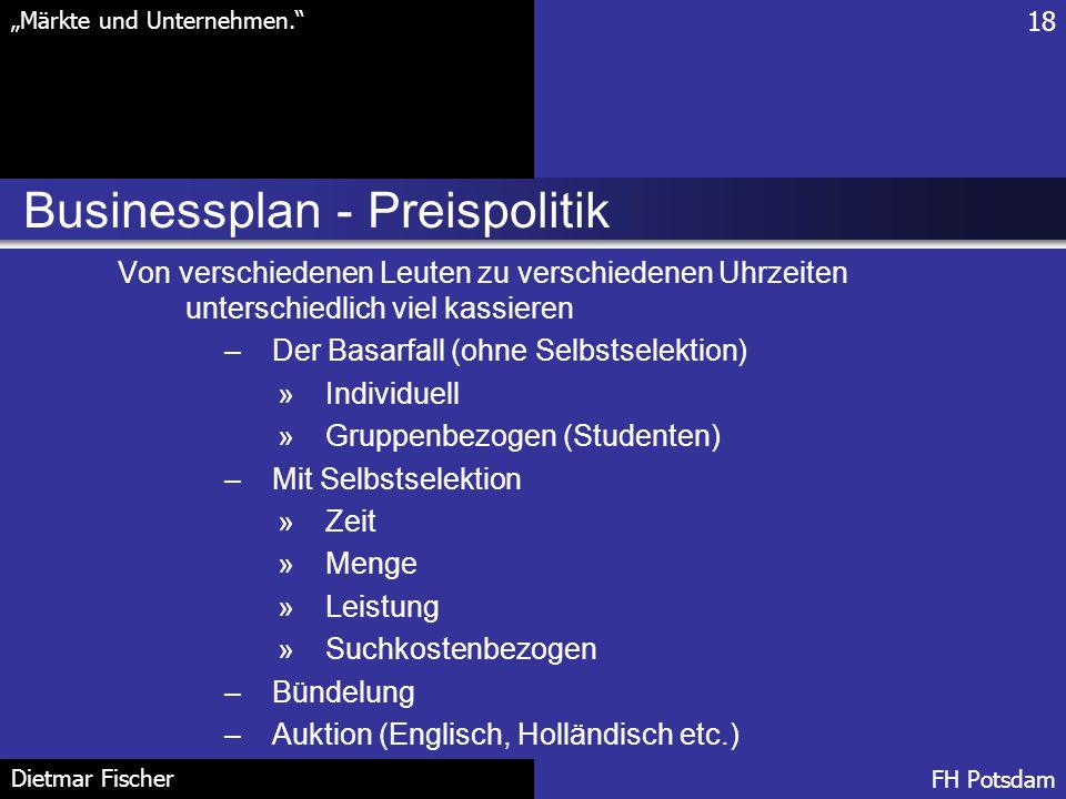 Businessplan - Preispolitik