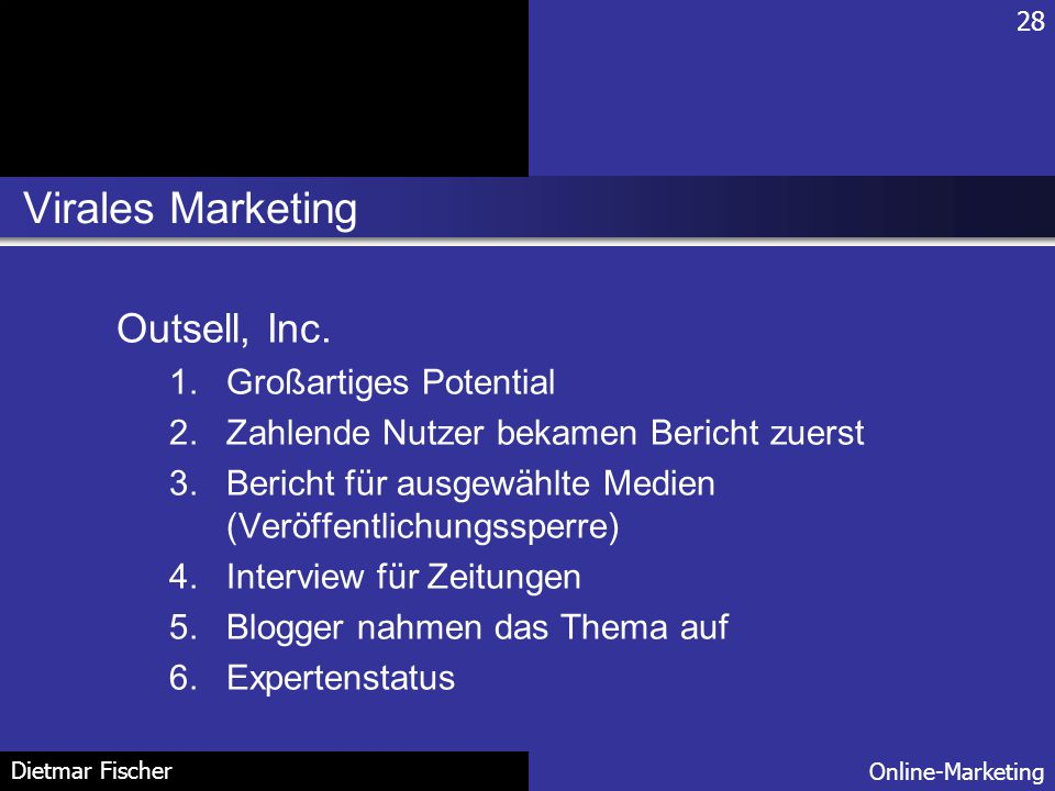Virales Marketing Outsell, Inc. Großartiges Potential