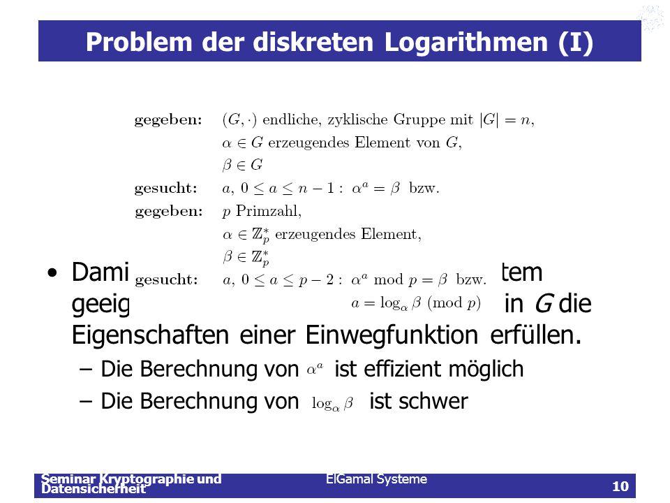 Problem der diskreten Logarithmen (I)