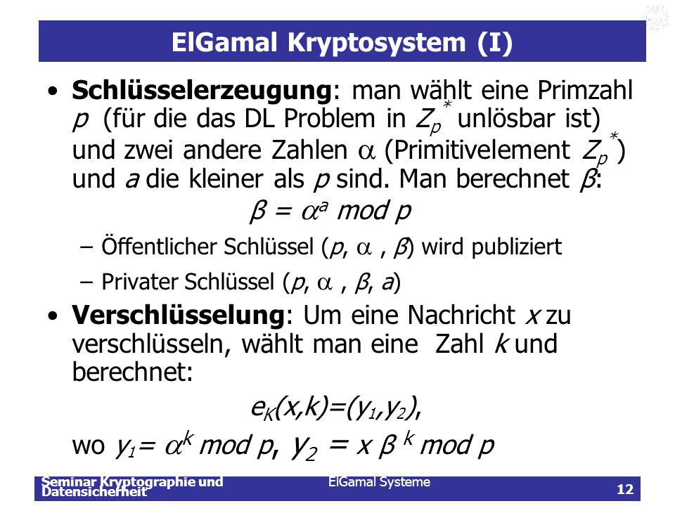 ElGamal Kryptosystem (I)