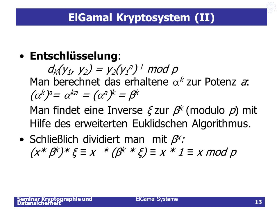 ElGamal Kryptosystem (II)