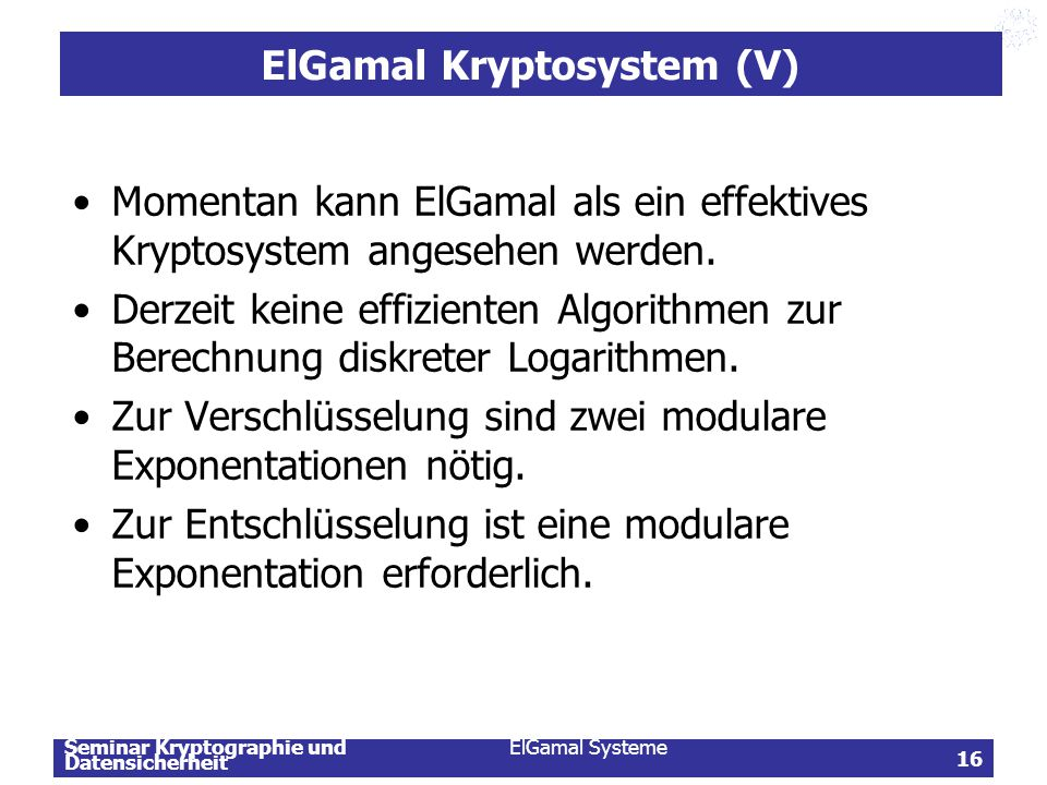 ElGamal Kryptosystem (V)