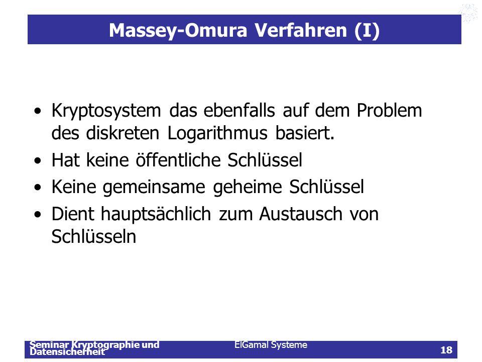 Massey-Omura Verfahren (I)
