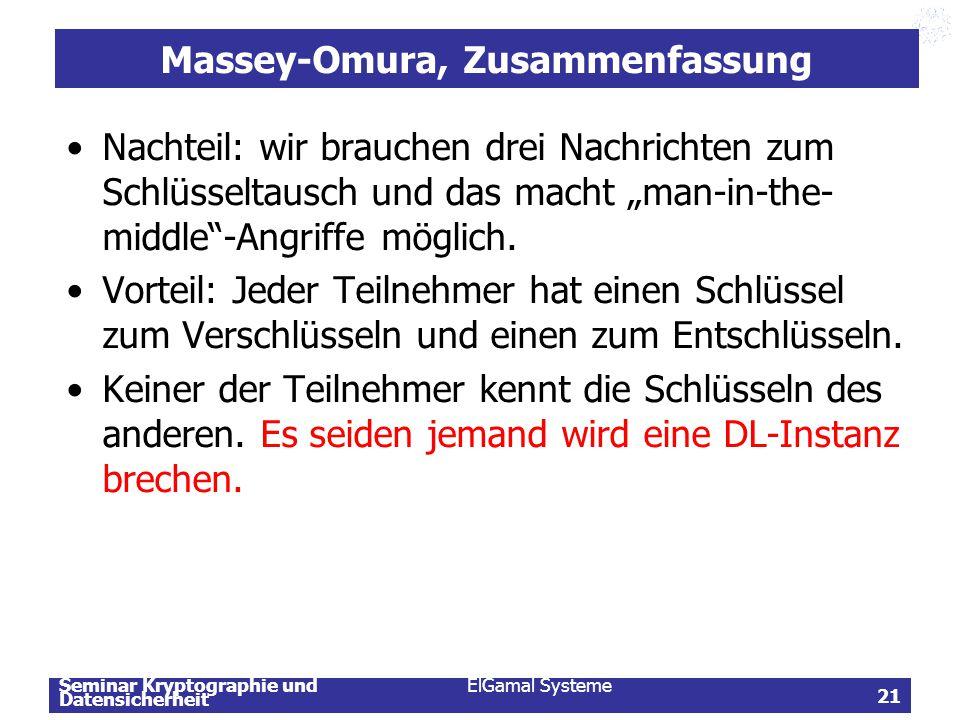 Massey-Omura, Zusammenfassung