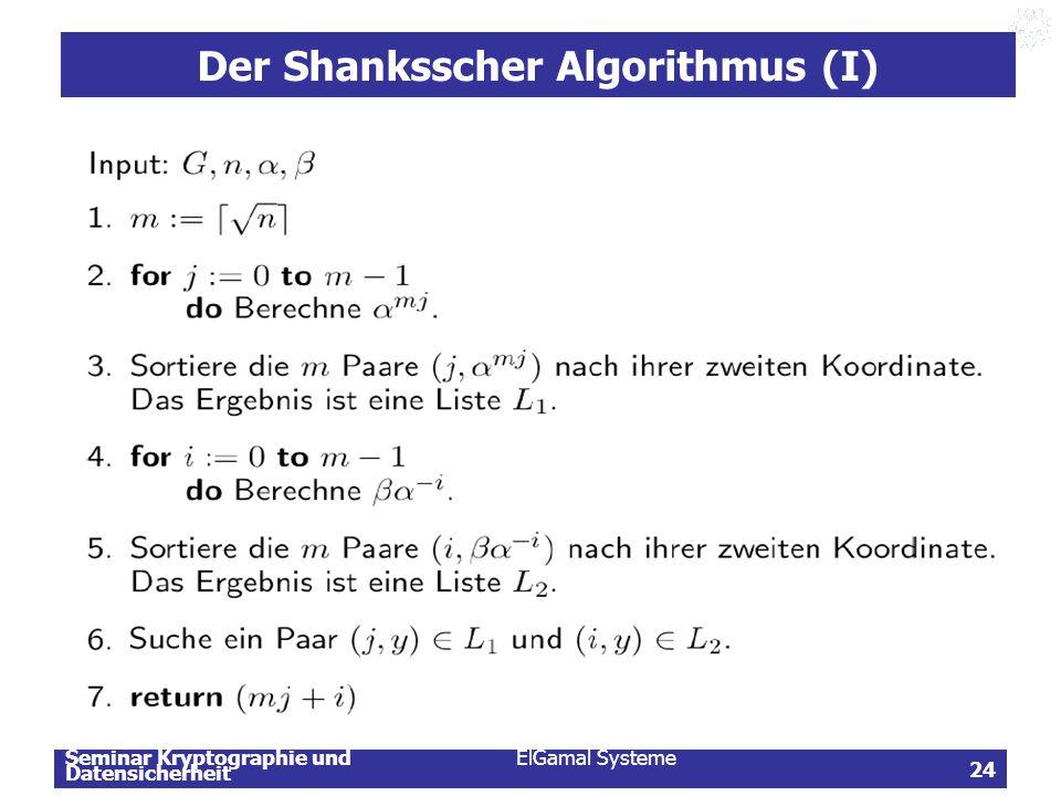 Der Shanksscher Algorithmus (I)