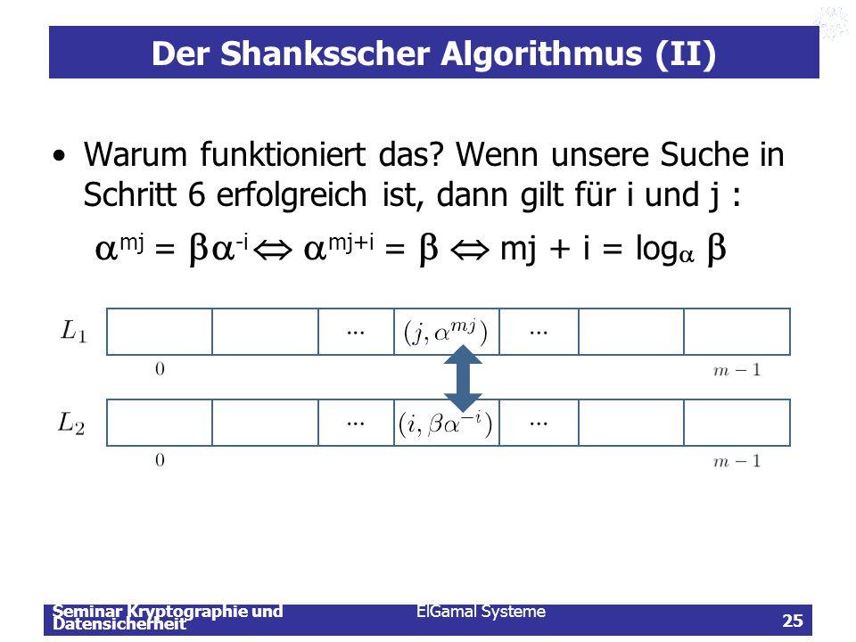 Der Shanksscher Algorithmus (II)