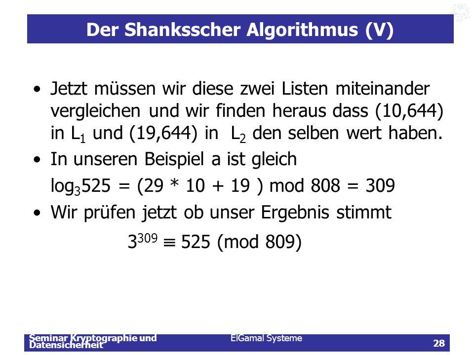 Der Shanksscher Algorithmus (V)