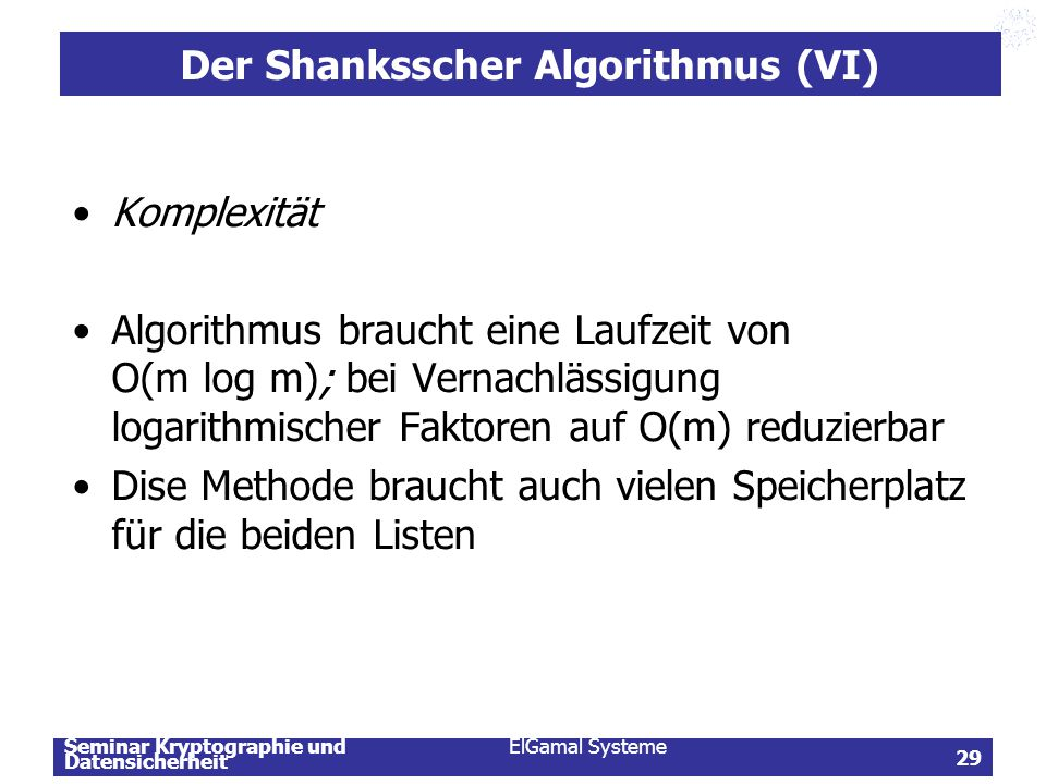 Der Shanksscher Algorithmus (VI)