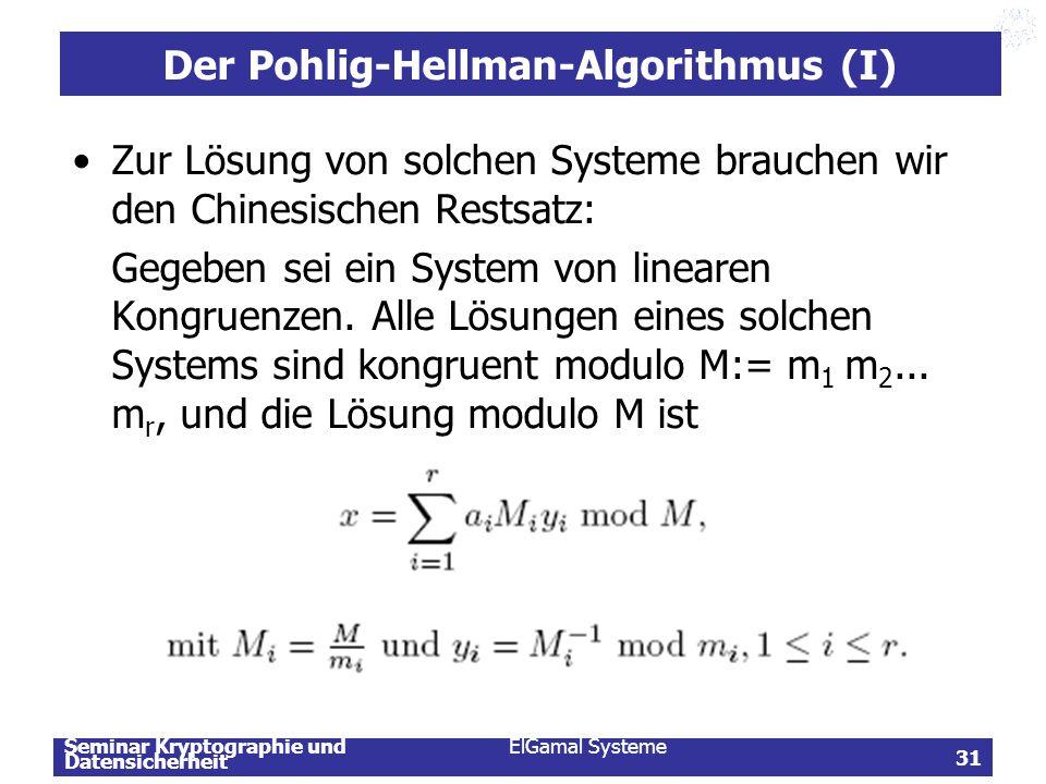 Der Pohlig-Hellman-Algorithmus (I)
