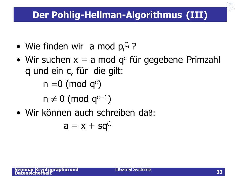 Der Pohlig-Hellman-Algorithmus (III)