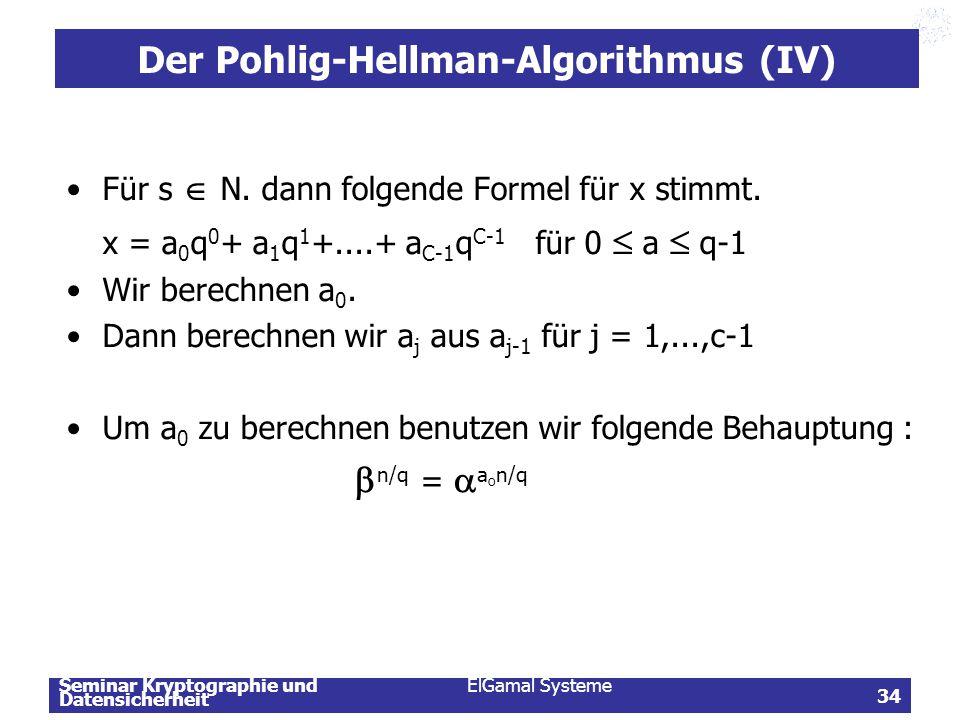 Der Pohlig-Hellman-Algorithmus (IV)