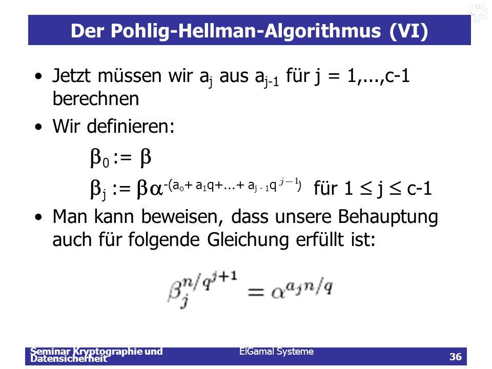 Der Pohlig-Hellman-Algorithmus (VI)