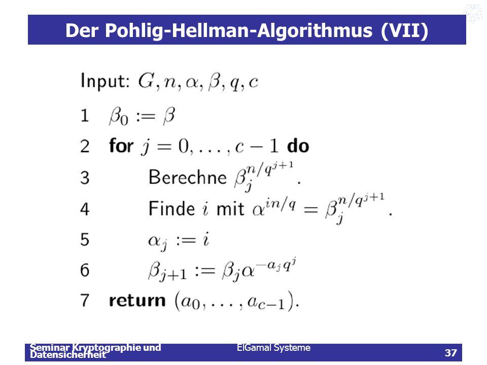 Der Pohlig-Hellman-Algorithmus (VII)
