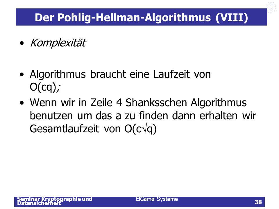 Der Pohlig-Hellman-Algorithmus (VIII)
