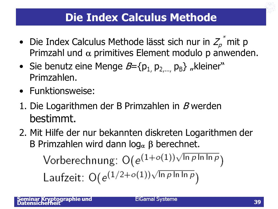 Die Index Calculus Methode