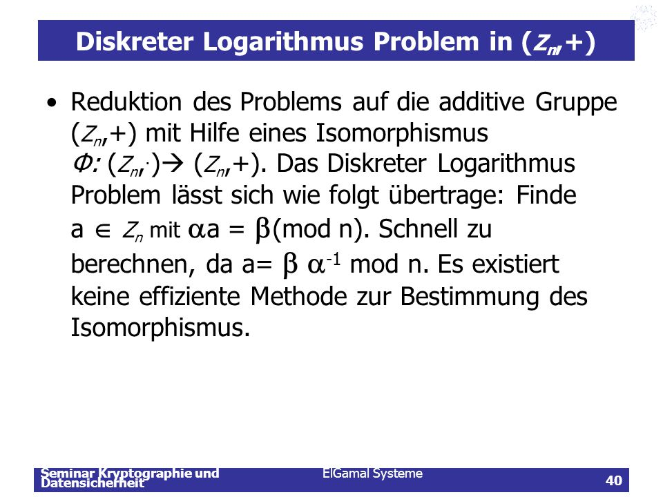 Diskreter Logarithmus Problem in (Zn,+)