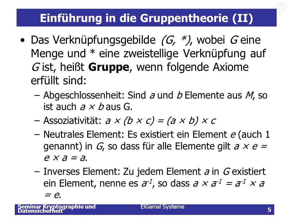 Einführung in die Gruppentheorie (II)