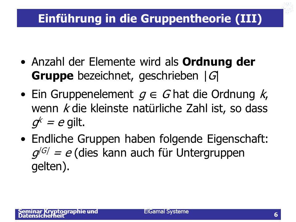 Einführung in die Gruppentheorie (III)