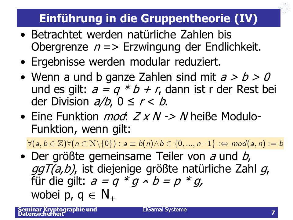 Einführung in die Gruppentheorie (IV)
