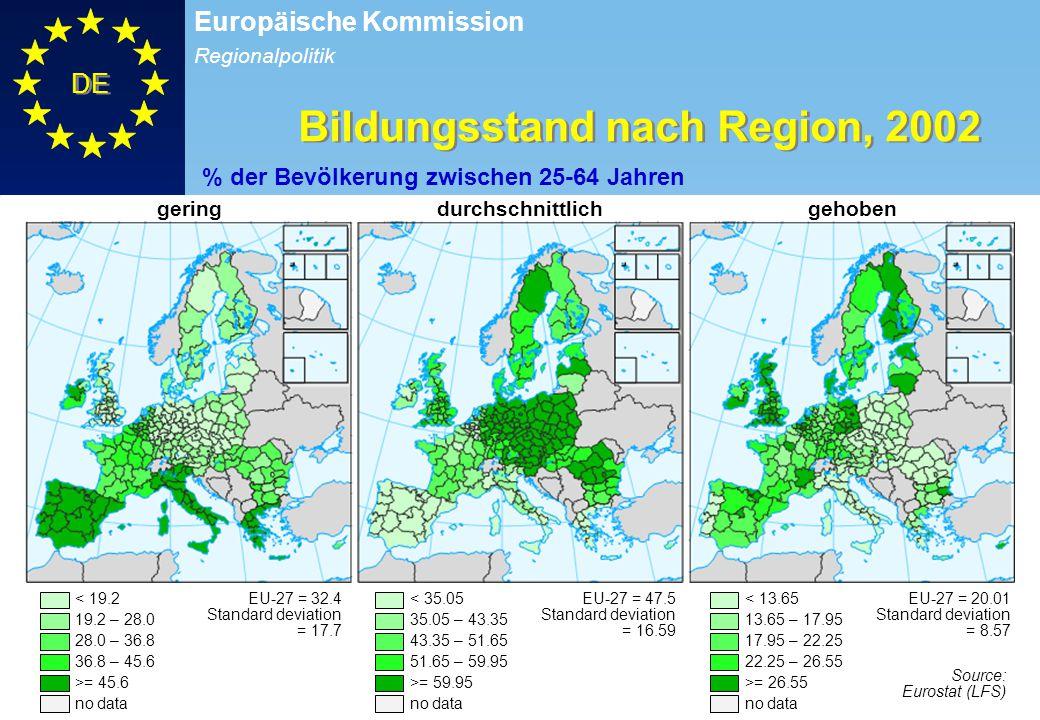 Bildungsstand nach Region, 2002