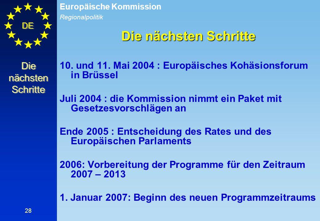 Die nächsten Schritte 10. und 11. Mai 2004 : Europäisches Kohäsionsforum in Brüssel.