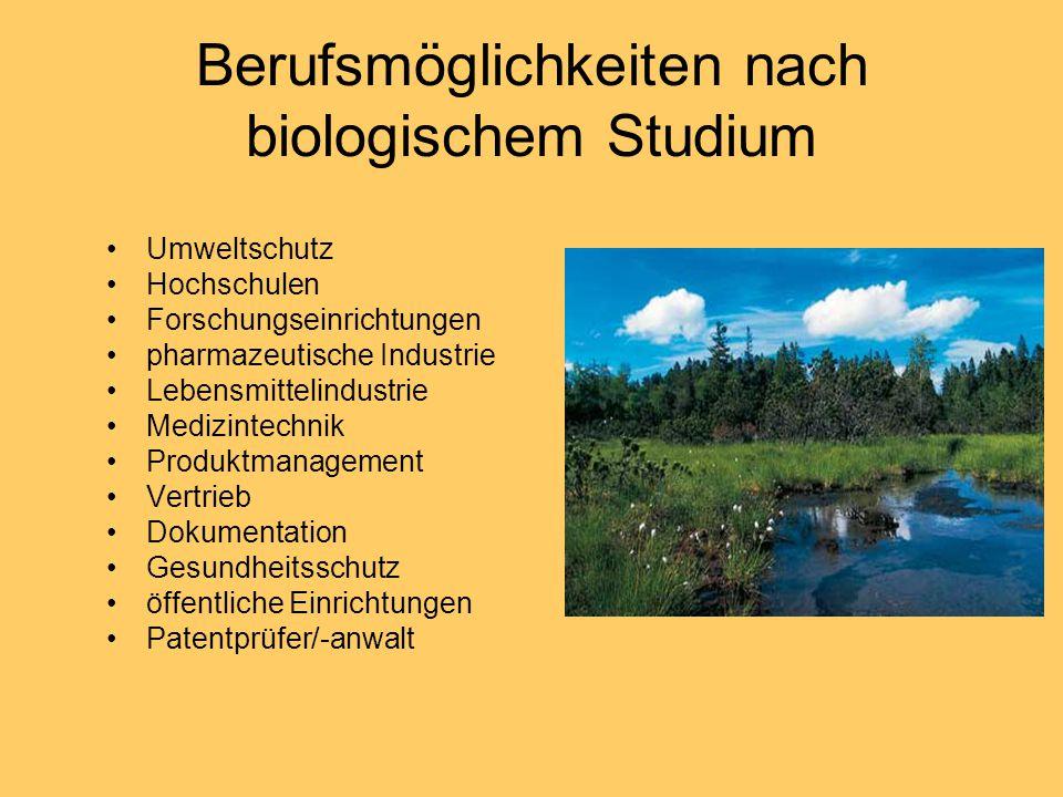 Berufsmöglichkeiten nach biologischem Studium