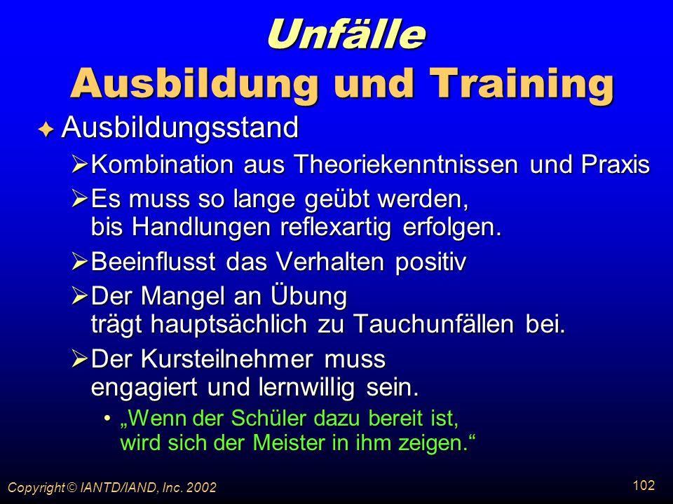 Unfälle Ausbildung und Training