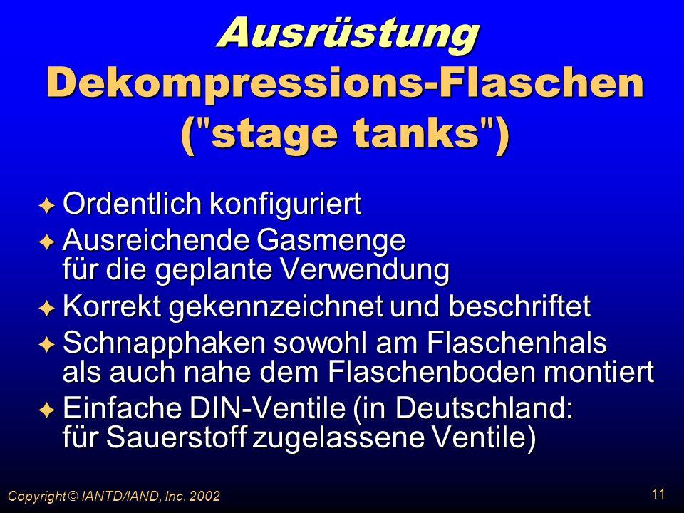 Ausrüstung Dekompressions-Flaschen ( stage tanks )